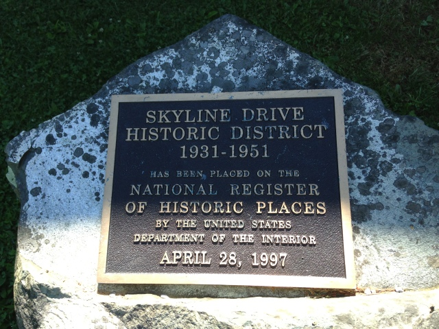 Skyline Drive Historic Marker