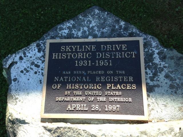 Skyline Drive Historic Marker