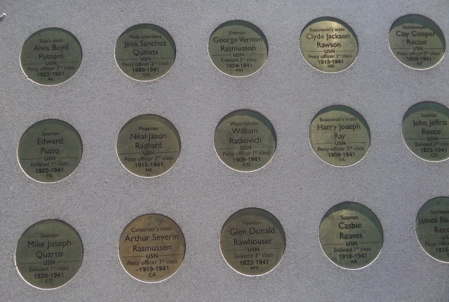 Plaques on memorial wall